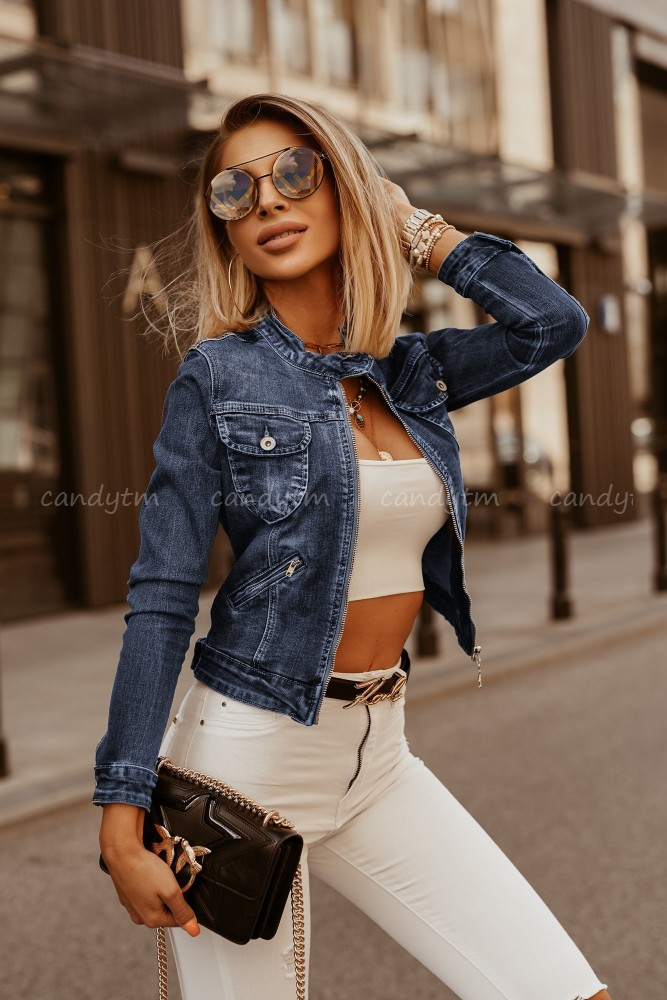 BUNDA DENIM JEANS ZIP SO STOJÁČIKOM